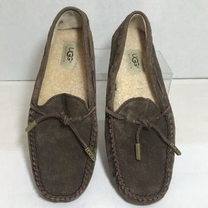 UGG Moccasins Driving Shoes Brown Suede Lines Sz 8